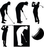 σκιαγραφία παικτών γκολφ Στοκ εικόνες με δικαίωμα ελεύθερης χρήσης