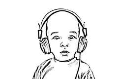 Σκιαγραφία παιδιών με τα ακουστικά Στοκ Φωτογραφία