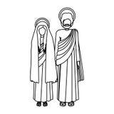 Σκιαγραφία παρθένα στάση Mary και Αγίου Joseph απεικόνιση αποθεμάτων
