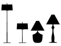 σκιαγραφία περιγραμμάτων λαμπτήρων Διανυσματική απεικόνιση