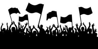 Σκιαγραφία πλήθους επιδοκιμασίας, εύθυμοι άνθρωποι Αθλητικοί ανεμιστήρες με τις σημαίες διανυσματική απεικόνιση