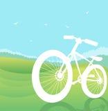 Σκιαγραφία ποδηλάτων στο τοπίο θερινής φύσης. Vect Στοκ Εικόνες