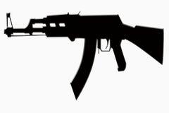 σκιαγραφία πυροβόλων όπλ&om Στοκ Φωτογραφία