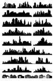 Σκιαγραφία 2 πόλεων απεικόνιση αποθεμάτων