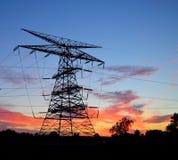 Σκιαγραφία πύργων ηλεκτρικής δύναμης Στοκ Εικόνα