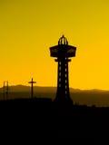 Σκιαγραφία πύργων στο χρόνο ηλιοβασιλέματος Στοκ Εικόνα