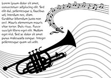 Σκιαγραφία σαλπίγγων με την κυματιστή σανίδα και τις μουσικές νότες Μαύρο στρέθιμο της προσοχής στο άσπρο υπόβαθρο Ιπτάμενο, αφίσ Στοκ Εικόνα