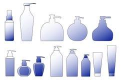 σκιαγραφία σαμπουάν συσκευασίας περιγραμμάτων μπουκαλιών Διανυσματική απεικόνιση