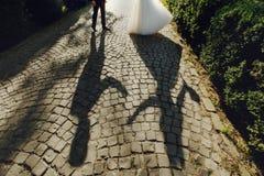 Σκιαγραφία σκιών της όμορφης νύφης και του όμορφου χορού νεόνυμφων Στοκ φωτογραφίες με δικαίωμα ελεύθερης χρήσης