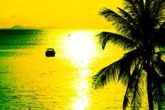 Σκιαγραφία στο ηλιοβασίλεμα στο τροπικό νησί Στοκ Εικόνα