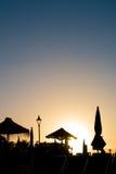 Σκιαγραφία στο ηλιοβασίλεμα στοκ εικόνα