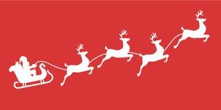 Σκιαγραφία ταράνδων ελκήθρων Santa με το χιόνι Στοκ Εικόνα