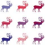 Σκιαγραφία ταράνδων Χριστουγέννων με τη διακόσμηση Στοκ εικόνες με δικαίωμα ελεύθερης χρήσης