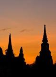 σκιαγραφία Ταϊλανδός παγοδών Στοκ φωτογραφία με δικαίωμα ελεύθερης χρήσης