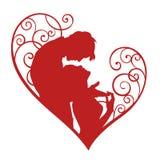 Σκιαγραφία της αγάπης του ζεύγους στην καρδιά Στοκ Φωτογραφίες