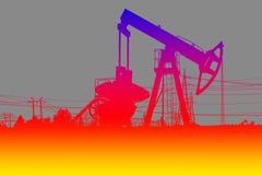 Σκιαγραφία της αντλίας πετρελαίου χρώματος Στοκ εικόνα με δικαίωμα ελεύθερης χρήσης