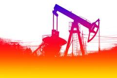 Σκιαγραφία της αντλίας πετρελαίου χρώματος Στοκ Φωτογραφίες