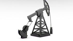 Σκιαγραφία της λειτουργώντας αντλίας πετρελαίου στο άσπρο υπόβαθρο ελεύθερη απεικόνιση δικαιώματος