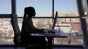 Σκιαγραφία της επιχειρησιακής γυναίκας που εργάζεται στον υπολογιστή και την ομιλία στο τηλέφωνο απόθεμα βίντεο
