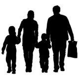 Σκιαγραφία της ευτυχούς οικογένειας σε ένα άσπρο υπόβαθρο επίσης corel σύρετε το διάνυσμα απεικόνισης Στοκ Φωτογραφίες
