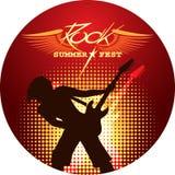 Σκιαγραφία της κιθάρας παιχνιδιού μουσικών Στοκ Εικόνες