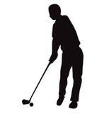 Σκιαγραφία της μπροστινής άποψης ταλάντευσης γκολφ - διανυσματική απεικόνιση Στοκ Εικόνες
