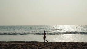 Σκιαγραφία της νέας ευτυχούς γυναίκας στο ωκεάνιο υπόβαθρο κυμάτων νερού, υπαίθριο πορτρέτο, ωκεάνιο κορίτσι κυμάτων θερινών διακ απόθεμα βίντεο
