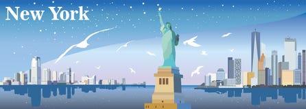 Σκιαγραφία της Νέας Υόρκης με seagulls Στοκ Εικόνες