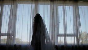 Σκιαγραφία της νύφης που έρχεται στο παράθυρο απόθεμα βίντεο