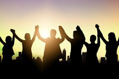 Σκιαγραφία της ομάδας επιχειρηματιών και της επιτυχούς ομαδικής εργασίας celeb στοκ εικόνα