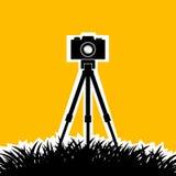 Σκιαγραφία της φωτογραφικής μηχανής Στοκ φωτογραφία με δικαίωμα ελεύθερης χρήσης