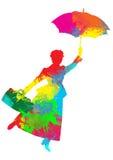 Σκιαγραφία της Mary Poppins Στοκ φωτογραφίες με δικαίωμα ελεύθερης χρήσης