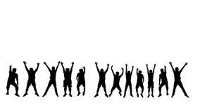 Σκιαγραφία του άλματος ατόμων επιτυχίας με το άσπρο υπόβαθρο ελεύθερη απεικόνιση δικαιώματος