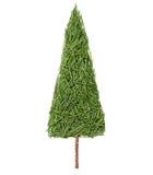 Σκιαγραφία του δέντρου έλατου Χριστουγέννων φιαγμένου από βελόνες πεύκων σε ένα άσπρο υπόβαθρο Στοκ Εικόνες
