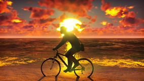Σκιαγραφία του ατόμου με το ποδήλατο στην ακτή Άτομο σε ένα ποδήλατο στην παραλία ενάντια στον ωκεανό, ο ουρανός, κατά τη διάρκει απόθεμα βίντεο