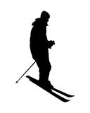 Σκιαγραφία του ατόμου στο alpine skiing Στοκ εικόνα με δικαίωμα ελεύθερης χρήσης