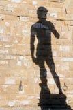 Σκιαγραφία του Δαβίδ στον παλαιό τοίχο πετρών στη Φλωρεντία, Ιταλία Στοκ Εικόνα