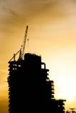 Σκιαγραφία του εργοτάξιου οικοδομής Στοκ εικόνα με δικαίωμα ελεύθερης χρήσης