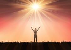 Σκιαγραφία του θηλυκού με τα όπλα που αυξάνονται ενάντια στον ουρανό 0409 ηλιοβασιλέματος ελεύθερη απεικόνιση δικαιώματος