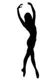 σκιαγραφία του θηλυκού χορευτή σε γραπτό Στοκ εικόνα με δικαίωμα ελεύθερης χρήσης