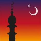 Σκιαγραφία του ισλαμικών μουσουλμανικού τεμένους και Ramadan. Φεγγάρι Στοκ φωτογραφία με δικαίωμα ελεύθερης χρήσης
