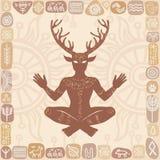 Σκιαγραφία του κερασφόρου Θεού Cernunnos συνεδρίασης Μυστικισμός, εσωτερικός, ειδωλολατρεία, αποκρυφισμός ελεύθερη απεικόνιση δικαιώματος