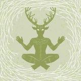 Σκιαγραφία του κερασφόρου Θεού Cernunnos συνεδρίασης Μυστικισμός, εσωτερικός, ειδωλολατρεία, αποκρυφισμός απεικόνιση αποθεμάτων