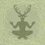 Σκιαγραφία του κερασφόρου Θεού Cernunnos συνεδρίασης Μυστικισμός, εσωτερικός, ειδωλολατρεία, αποκρυφισμός διανυσματική απεικόνιση