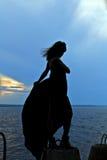 Σκιαγραφία του κοριτσιού στο μακρύ φόρεμα στο ηλιοβασίλεμα ποταμών τραπεζών Στοκ εικόνα με δικαίωμα ελεύθερης χρήσης