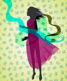 Σκιαγραφία του κοριτσιού Στοκ Εικόνες
