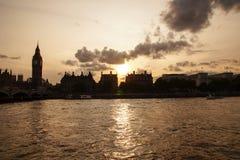 Σκιαγραφία του Λονδίνου Big Ben στοκ φωτογραφία με δικαίωμα ελεύθερης χρήσης
