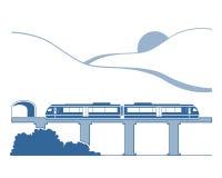 Σκιαγραφία του μονοτρόχιου σιδηροδρόμου στα βουνά Στοκ Εικόνα