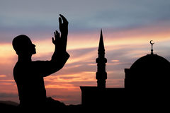 Σκιαγραφία του μουσουλμανικού ατόμου Στοκ Φωτογραφίες