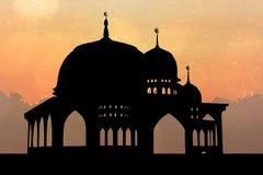 Σκιαγραφία του μουσουλμανικού τεμένους Στοκ εικόνα με δικαίωμα ελεύθερης χρήσης